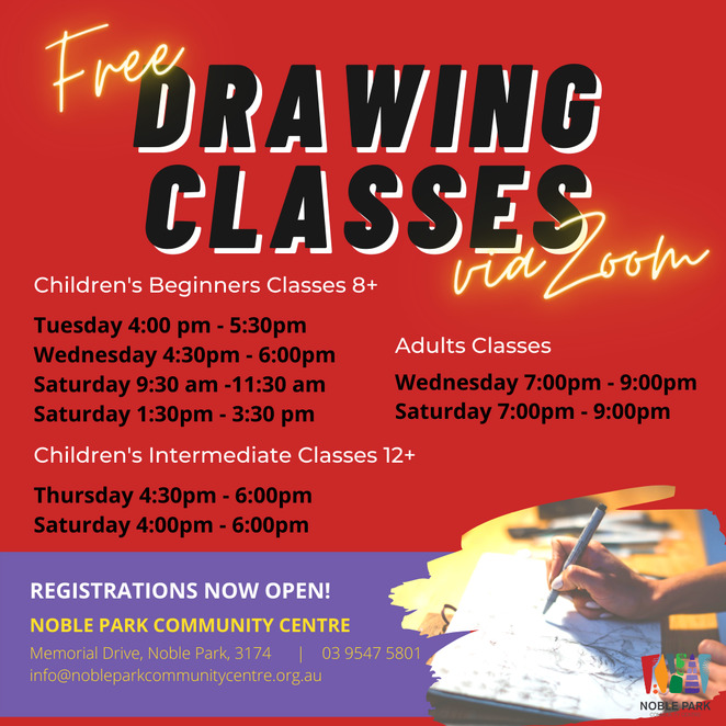 free drawing classes, childrens art classes, adults art classes, noble park community centre, community activities, fun things to do, artists, painting