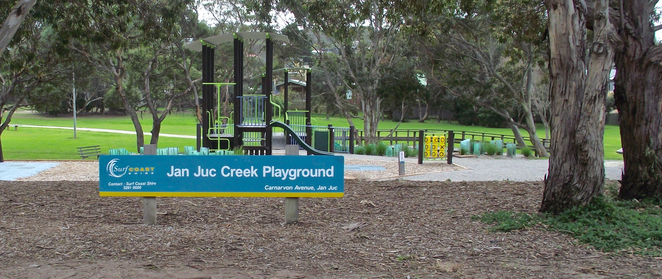 jan juc, Jan Juc creek, playground, park, grass, torquay, sign,
