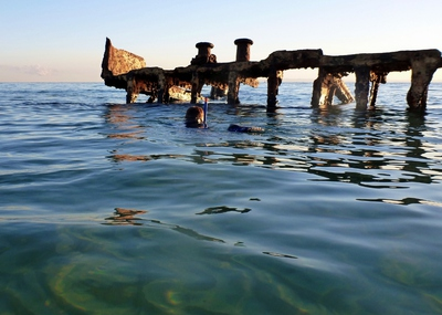 Child snorkelling at Bulwer Wrecks