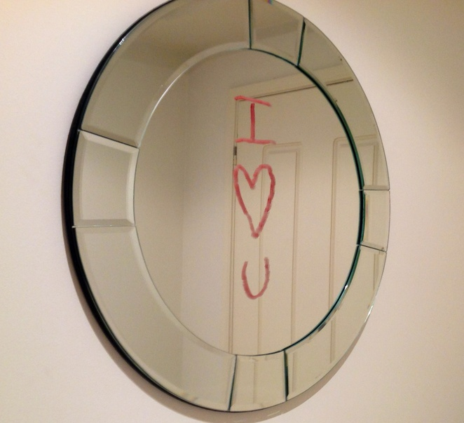 Mirror, lipstick, love, love signs, love letters, house, home