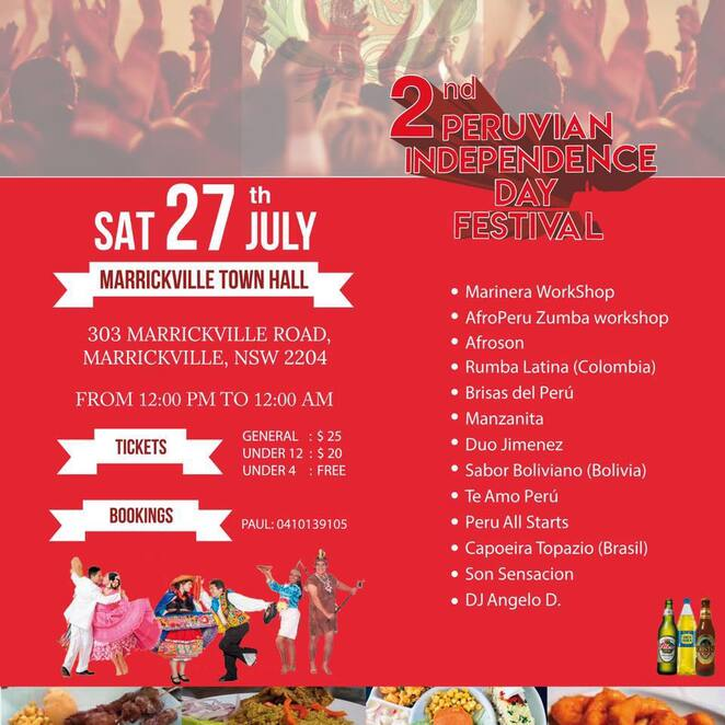 peruvian independence day festival 2019, community event, fun things to do, marrickville, sazon peruana, cultural event, marrickville town hall, peruvian live music, peruvian cuisine, dance and folklore, artists, activities, entertainment