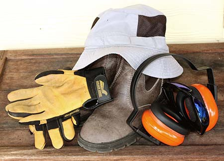 PPE,gloves,hat,sunglasses,boots,earmuffs,protect,hearing,eyesight