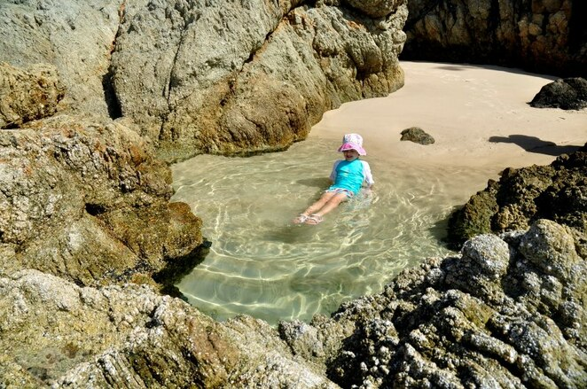 The rock pools around Honeymoon Bay are fabulous to soak in