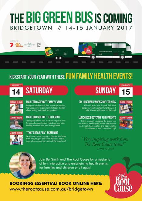 the big green bus is coming, bridgetown, fun family health events, the root cause, mad food science, family event, community event, healthy options, mad food science, teen event, that sugar film, diy lunchball workshop for kids, lunchbox bootcamp for parents, fun things to do