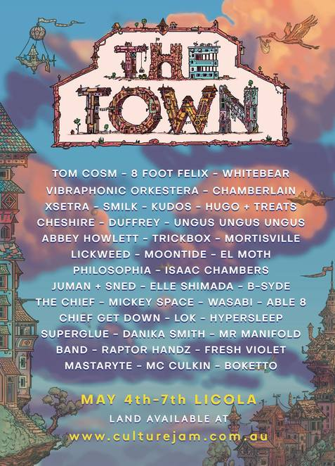 the town 2018, community event, fun things to do, alternative lifestyle, sustainable lifestyle, secluded village, lush rolling hills, dreamers home, diverse music, indoor and outdoor stages, olympics, cabaret, roller skating, canoeing, open mic, fire twirling, masquerade ball, weddings, prom night, immersive theatre, funky art cars, workshops, indoor basketball, giant games, spas, flying fox, zoo, op shop, markets, 8 foot felix, live bands, musicians, entertainment, dress ups, bands, nightlife, party time