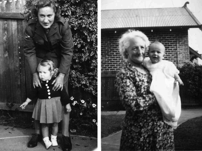 Top left: Marjorie and Joan. Top right: Annie Porter and Ted Williams. Above: Aunty Nancy and Uncle Ted (check the dog's feet), Hear Anne tell their stories and more.