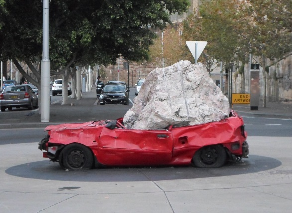 walsh bay sculpture walk Jimmie Durham's Still Life With Stone and Car