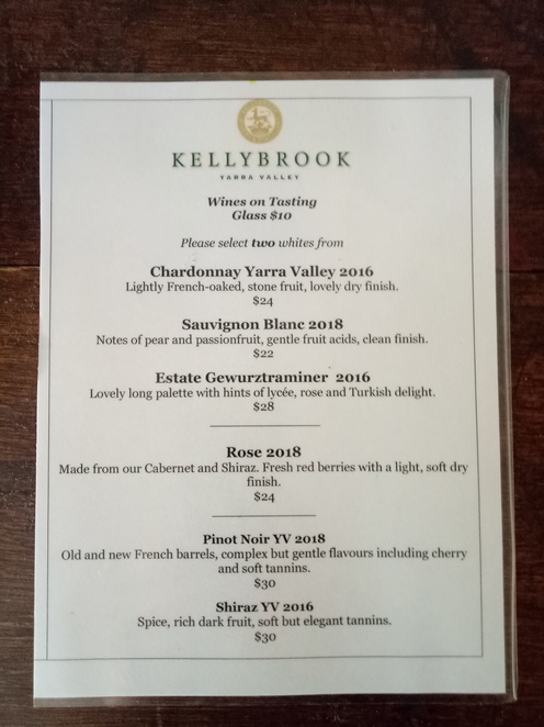 Wine list, wine tasting, yarra valley winery, shedfest, kellybrook winery