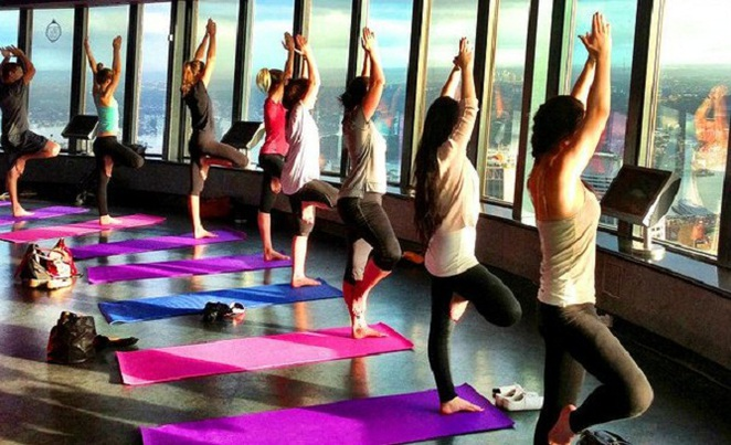 yoga at sydney tower eye observation deck