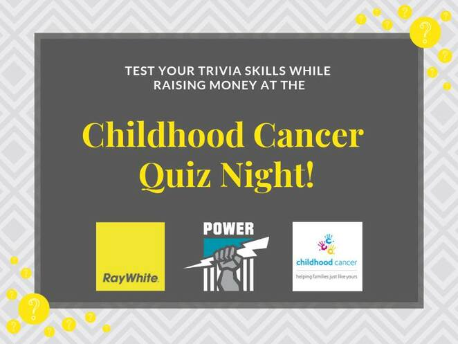 childhood cancer quiz night 2019, communithy event, trivia skills, fundraiser, commnity event, fun things to do, let the games begin, ray white, pafc, childhood cancer association, alberton oval port adelaide, charity quiz night, silent auction, live auction, quiz night competition