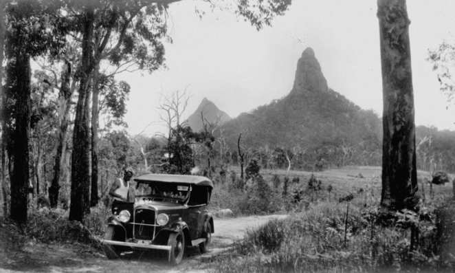 Driving through Glass House Mountains 1935