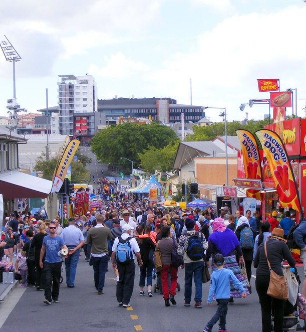 The crowds quickly build up at the Ekka