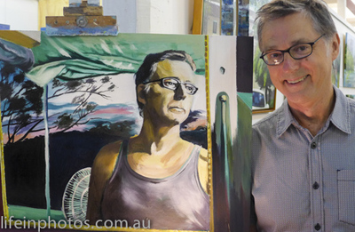 John Bell Self Portrait, Brisbane Flood Exhibition