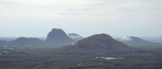 The view of the Glass House Mountains from Mt Coochin