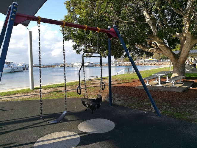 nelson bay playground, nelson bay foreshore, port stephens, NSW, parks, playgrounds, picnic spots, shade, swimming, sand, bay, best playgrounds in port stephens, marina, wharf, ferry, cruise terminal, all abilities swings,