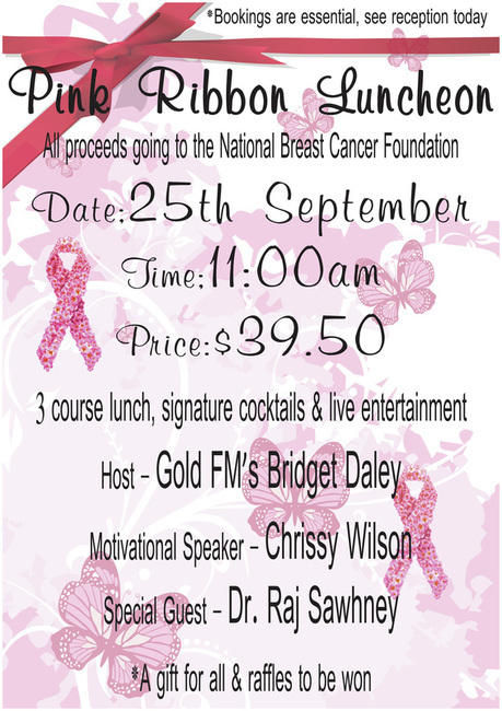 nerang, rsl, pink ribbon, entertainment, breast cancer, fundraiser, lunch