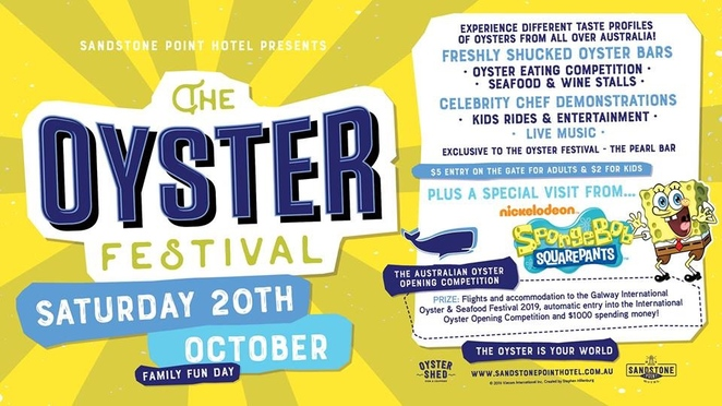 Oyster Festival 2018, Sandstone Point Hotel, Oyster Shed, seafood delights, Pumicestone Passage, fishing trawlers, freshly shucked oysters, Oyster Bars, seafood and wine stalls, celebrity chef demonstrations, kids' rides, entertainment, Spongebob Squarepants, oyster eating competition, live music, The Pearl Bar, Australian Oyster Opening Competition, oyster shuckers, Galway International Oyster and Seafood Festival, Ireland