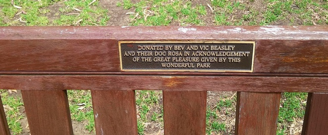 Plaque on a donated bench
