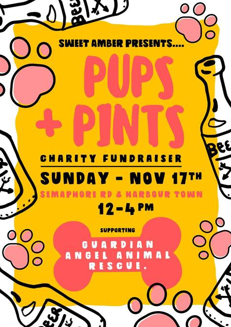 plus and pints 2019, sweet amber beer and pizza, harbour town adelaide, community eent, fun things to do, free event, guardian angel animal rescue inc, fundraiser, charity, rehoming companion animals, semaphore road, gaar, family friendly, dog friendly, activities, entertainment