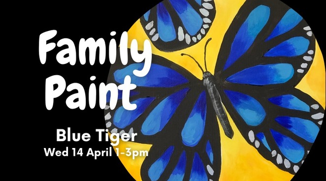 Two Family Paint Sessions, April, The Art Hub Sunshine Coast, quality time, arty, Downtown Caloundra, local artists, FUN, no prior experience, take-home canvas, apron, brushes, paints provided, age eight and older, alcohol free, Family Paint Gerald Giraffe, Family Paint Blue Tiger, school holidays, book early, special occasions, milestones, just to be together