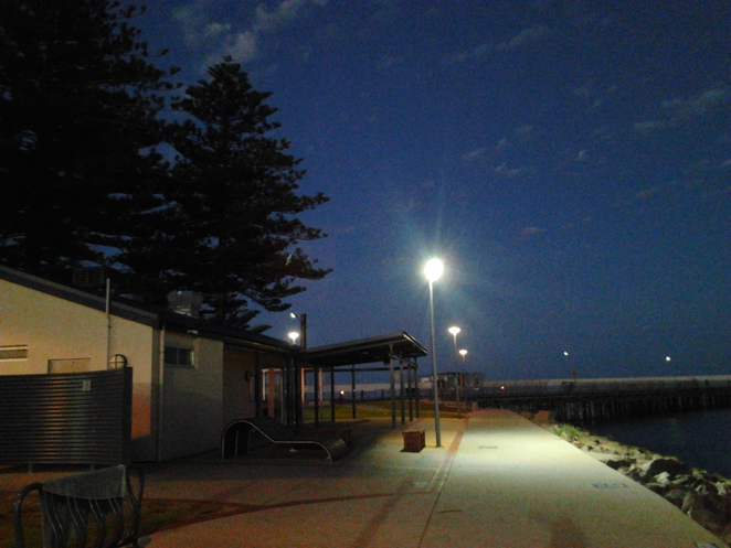 Wallaroo, Office Beach foreshore, Jetty, night on Wallaroo foreshore