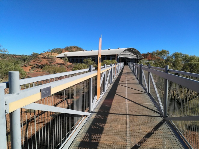 Walkway into the Dinosaur Stampede National Monument building