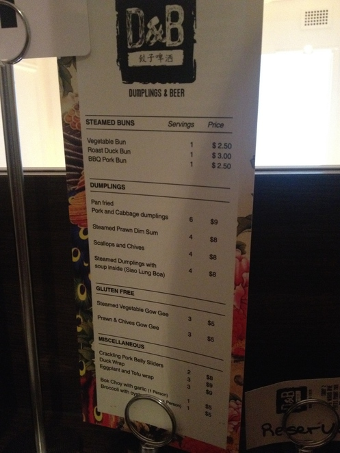 dumplings & beer, menu