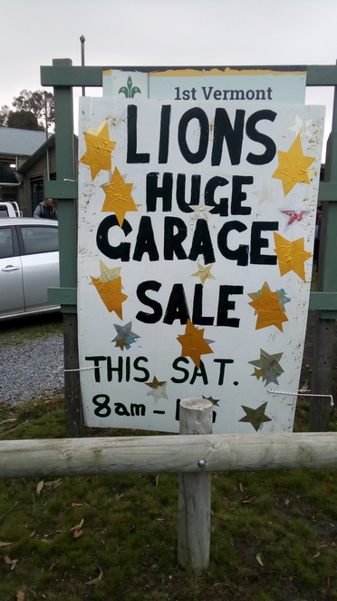 garage sale, trash and treasure, lions club, sign