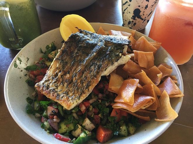 Grilled Barramundi Fattoush, Parx Coffee House
