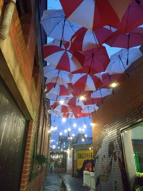 Look for the laneway with all the umbrellas
