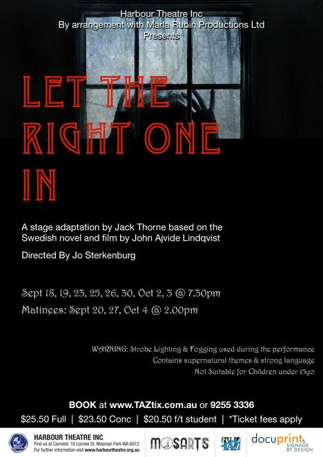 Let The Right One In, Harbour Theatre, play, gothic, performing arts, darkness, sinister, horror, John Ajvide Lindqvist