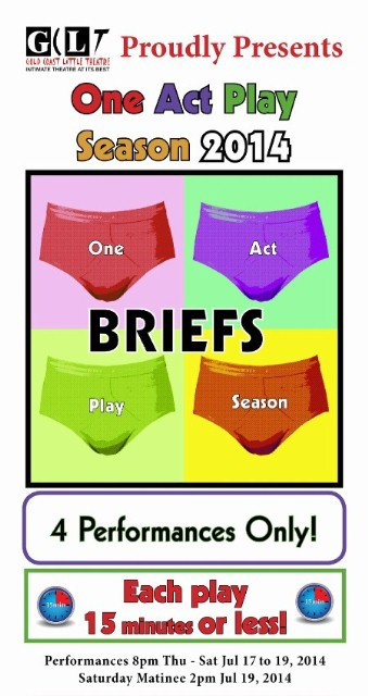 One Act Play Season 2014, directors, actors, fifteen minute plays, Gold Coast Little Theatre