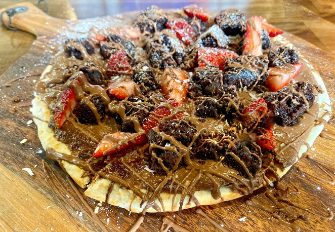 Chocolate pizza at Rusticks Cafe