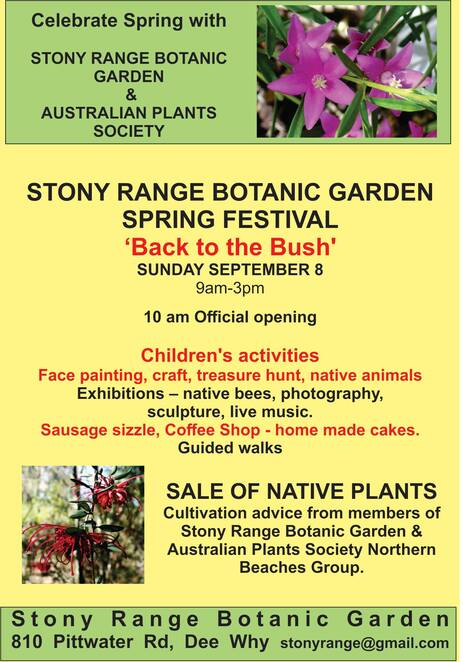 stony range spring fair 2019, community event, fun things to do, stony range regional botanic garden, australian plants society northern beaches group, free festival event, native plant sales, plant displays and exhibitions, children's activities, live native animals, walks, music, sculptures, photography displays, bbq, coffee shop, entertainment, activities, garden lovers