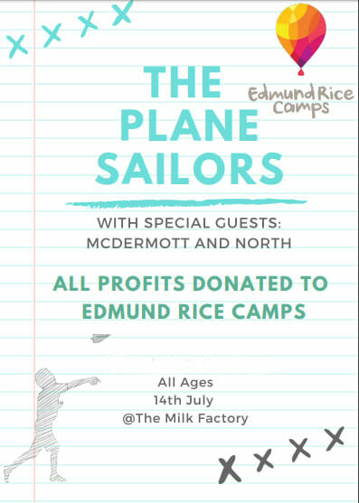 the plane sailors charity extravaganzy 2019, community event, fun things to do, the milk factory, charity extravaganza, fundraiser, the plane sailors, mcdermott & north, edmund rice camps, sunday arvo tunes; mcdermott and north