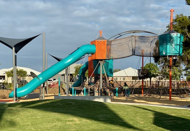 The superb new climbing structure at Thornlands Community Park