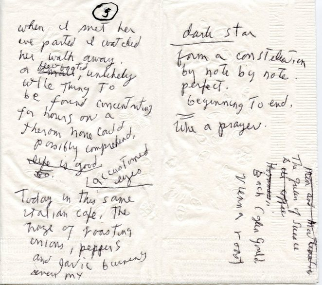 Patti Smith takes her place for her coffee fix at Café Ino on Sixth Avenue and dreams and scribbles away