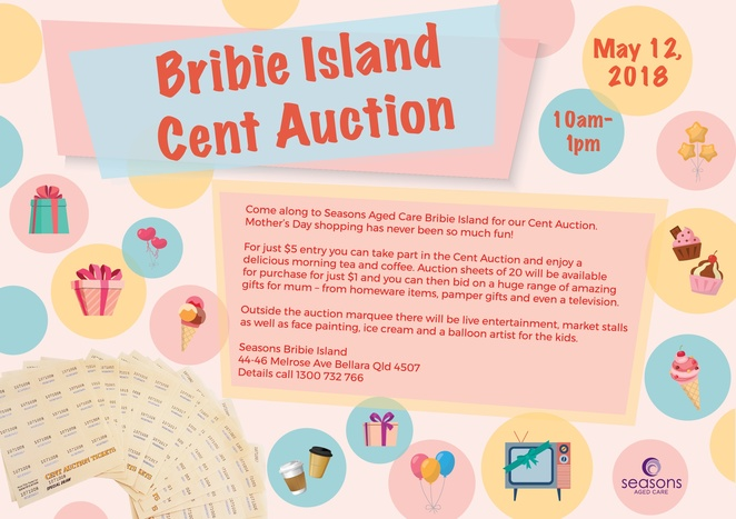 Bribie Island Seasons Aged Care Mothers Day Cent Auction May 12 2018