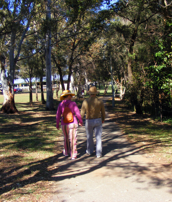 Holding hands is allowed if you live together with your walking partner
