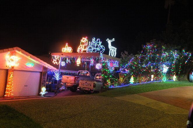 Explore Christmas Light Displays on the Sunshine Coast, homes, streets, creative, colourful, December, shortlist favourites, forty-one suburbs, Battery Hill, Beerwah, Bli Bli, Bokarina, Buddina, Buderim, Burnside, Caloundra West, Coolum Beach, Cooroy, Currimundi, Dicky Beach, Eumundi, Glasshouse Mountains, Golden Beach, Kings Beach, Landsborough, Little Mountain, Maroochydore, Meridan Plains, Minyama, Moffat Beach, Montville, Mooloolaba, Mooloolah Valley, Mountain Creek, Nambour, Coes Creek, Noosaville, Pacific Paradise, Palmwoods, Parrearra, Peachester, Pelican Waters, Peregian Beach, Peregian Springs, Sippy Downs, Tewantin, Warana, Woombye, Yandina, Yaroomba, pack a picnic, new adventures, children, lead up to Christmas