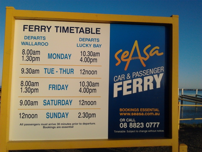 ferry, Wallaroo, Lucky Bay, the Sea Star, timetable
