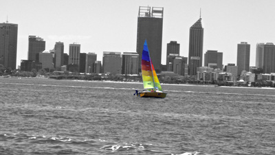 Heathcote, view, sailboat, swan, river, perth, city, lookout