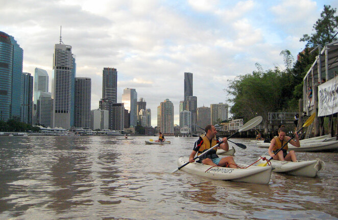 Kayaking through the heart of the city is just one of many Brisbane City based activities