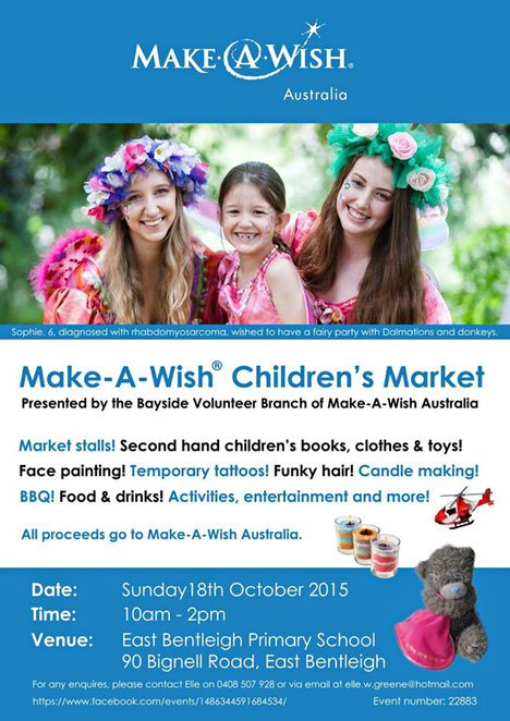 make a wish, market, children's market, east bentleigh primary school, commuity event, second hand children's books, clothes, toys, face painting, cangle marking, bbq, cake, jumping castle, live music, dance performance