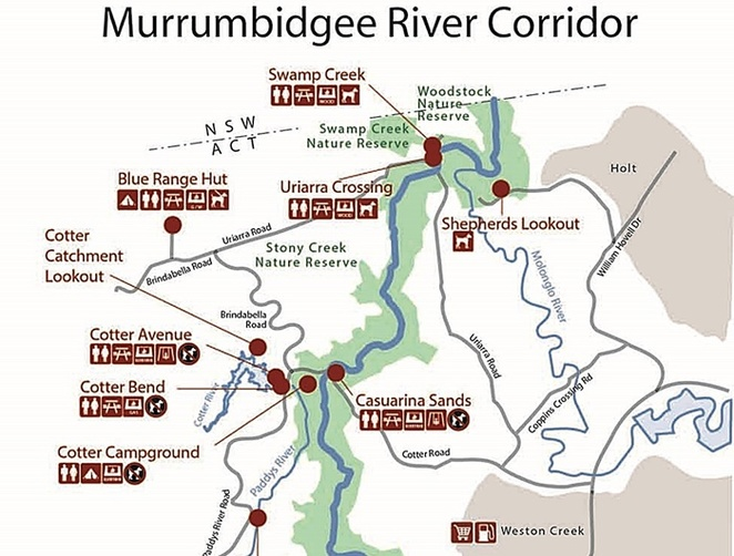 murrumbidgee river corridor, canberra, ACT, river swimming, BBQ areas, reserves, picnic areas, swimming, walks, cotter reserve,