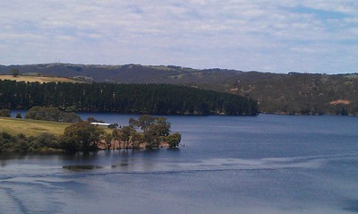 The lookout offers spectacular views of Myponga Reservoir