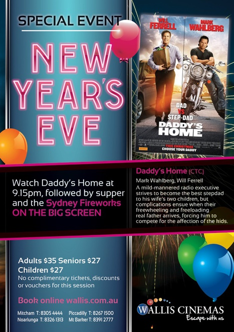 NYE, Adelaide, Movies, Wallis Cinema, Comedy Movie, 2016