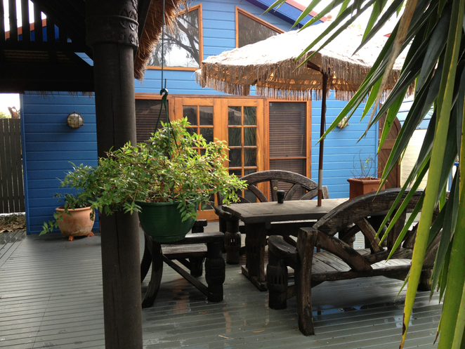 Private deck, courtyard, holiday house, jervis bay
