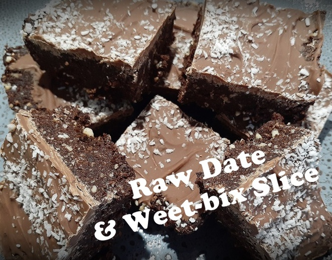 raw date and weet bix slice, date recipes, recipes using dates, australia, baked, treats, family, kids, children, weet bix, weet bix recipes, slice, overnight oats, protein balls, lemon weet bix slice