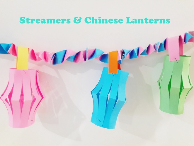 streamers, chinese lanterns, paper craft, australia, coloured paper, easy, budget, cheap, quick, preschoolers, birthday decorations,